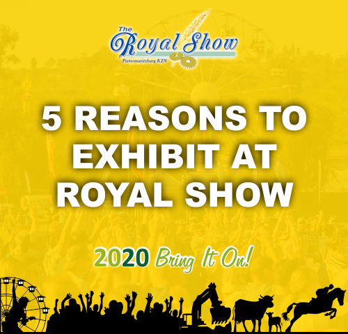 Graphic with the words Five Reasons to exhibit ar Royal Show 2020