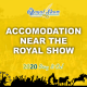 Yellow Graphic with the words Accommodation near the Royal Show