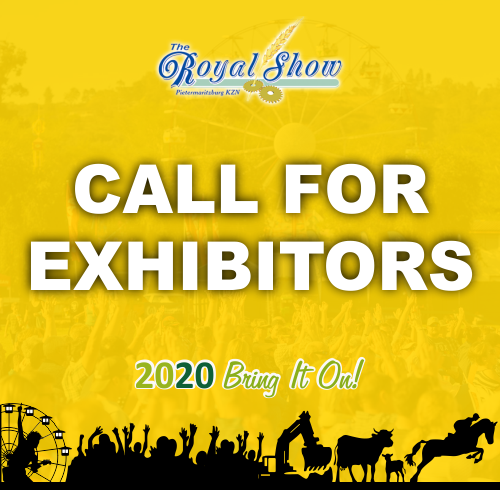 Yellow Graphic with the words Call for exhibitors Royal Show 2020