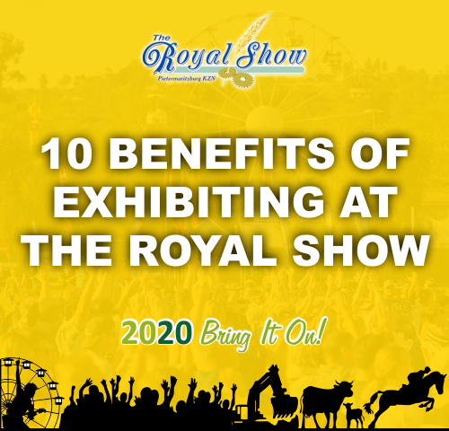 Yellow Graphic with the words 10 Benefits of Exhibiting at Royal Show